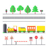 Cartoon toy passenger train, kids railroad, railway signs and semaphores. Toy train locomotive with wagons, illustration of element tree and train for railroad Stock Photos