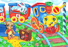 Cartoon toy railway station  with train and passengers. Colorful artistic cartoon illustration of the toy railway and train Stock Photography