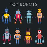 Cartoon toy robots. Toy robot set - retro robots collection vector royalty free illustration