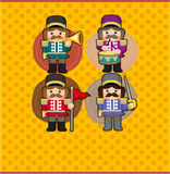 Cartoon Toy soldiers card. Drawing Royalty Free Stock Photo