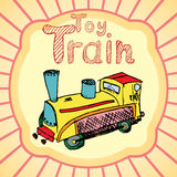 Cartoon Toy train colored hand drawn sketch. Vector illustration Royalty Free Stock Photos