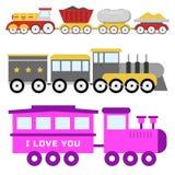 Cartoon toy train vector railroad and cartoon carriage game fun leisure joy gift locomotive transportation. Royalty Free Stock Photo