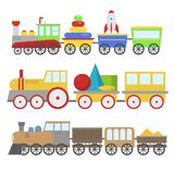 Cartoon toy train vector railroad and cartoon carriage game fun leisure joy gift locomotive transportation. Cartoon toy train with colorful blocks  over white Stock Photography