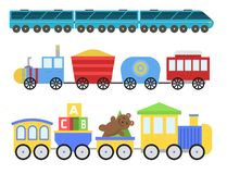 Cartoon toy train vector railroad and cartoon carriage game fun leisure joy gift locomotive transportation. Cartoon toy train with colorful blocks  over white Stock Photos