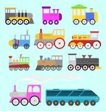Cartoon toy train vector railroad and cartoon carriage game fun leisure joy gift locomotive transportation. Cartoon toy train with colorful blocks isolated over Royalty Free Stock Images