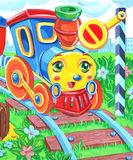 Cartoon toy train. Vertical colorful illustration of a cute cartoon train Stock Photography