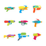 Cartoon Toy Water Guns Color Icons Set. Vector Stock Photography
