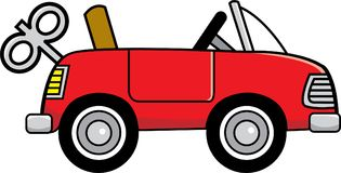 Cartoon toy wind up car. Stock Photos