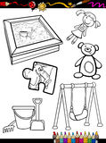 Cartoon toys objects coloring page. Coloring Book or Page Cartoon Illustration of Black and White Toys Objects Set for Children Education Stock Images