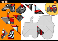 Cartoon tractor jigsaw puzzle game Royalty Free Stock Photo
