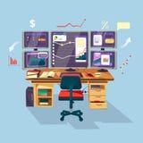 cartoon trader, financial analyst workplace vector illustration
