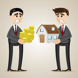 Cartoon trading house among agent and businessman Royalty Free Stock Images