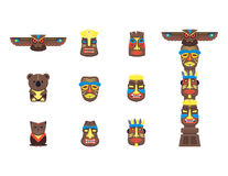 Cartoon Traditional Religious Totem Color Icons Set. Vector Royalty Free Stock Photos