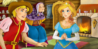 Cartoon traditional scene with old woman - grandmother - young prince and princess Royalty Free Stock Image