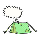 Cartoon traditional tent with speech bubble Royalty Free Stock Image