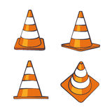 Cartoon Traffic Cones Set Royalty Free Stock Images