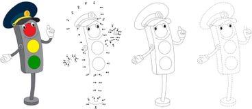 Cartoon traffic light. Vector illustration. Dot to dot game for Royalty Free Stock Photos