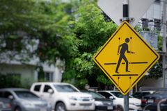 traffic sign for crossing the road stock photos