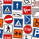 Cartoon Traffic Signs Seamless Pattern Stock Photos