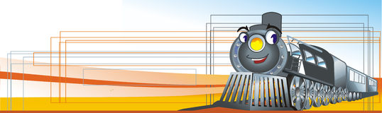 Cartoon train. Illustration of the train in a way Royalty Free Stock Images