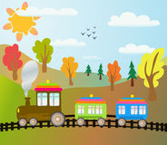 Cartoon train. On autumn landscape Stock Image