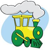 Cartoon train. Cartoon illustration of a green and yellow train Royalty Free Stock Image