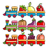 Cartoon train. Vector illustration of funny cartoon train, moving  the fruits and vegetables Stock Image