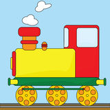 Cartoon train. Cartoon illustration of an old-fashioned steam engine Stock Photo