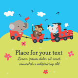 Cartoon train with animals. Background template with place for your text. Vector illustration Royalty Free Stock Photo