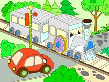 Cartoon train and car for children color vector illustration. Colorful picture Royalty Free Stock Photography