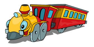Cartoon Train. Wit Smiling Locomotive and Railway Carriage - Illustration, Vector Royalty Free Stock Images