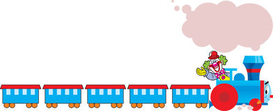 Cartoon train with clown Royalty Free Stock Photo