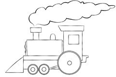 Cartoon Train Line Art. A line art illustration of a choo choo train. Room for text on the train or in the smoke Royalty Free Stock Image