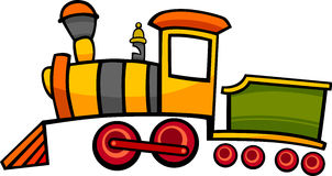 Cartoon train or locomotive. Cartoon illustration of cute colorful steam engine locomotive or train Stock Photo