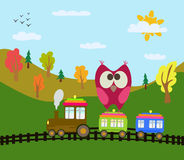 Cartoon train and owl. Cartoon train and red owl Royalty Free Stock Images