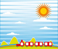 Cartoon train ride background Royalty Free Stock Photo
