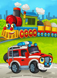 Cartoon train scene on the meadow with off road fireman truck Royalty Free Stock Photography