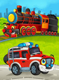 Cartoon train scene on the meadow with off road fireman truck Royalty Free Stock Photos