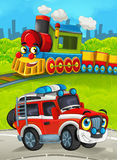 Cartoon train scene on the meadow with off road fireman truck Stock Images