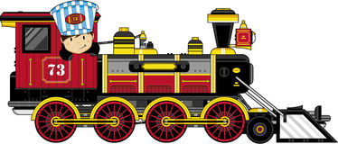 Cartoon Train. Vector illustration of Cartoon Wild West Style Train with Cute Driver Stock Photography