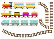 Cartoon train with wagons and railway. The toy train goes by rail. Flat design, vector illustration, vector Stock Images