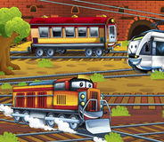 Cartoon trains - funny and happy scene Royalty Free Stock Photography