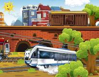 Cartoon trains - funny and happy scene Stock Photography