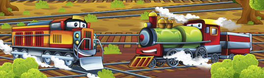 Cartoon trains - funny and happy scene Stock Images