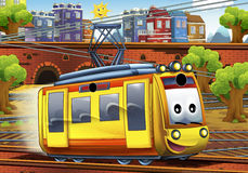 Cartoon tram - train station Stock Photo