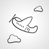 Cartoon transparent airplane and cloud icon vector illustration. stock illustration