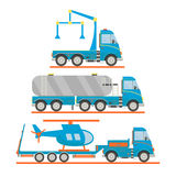Cartoon transport set. Tow truck, tank car, lorry, helicopter. Vector illustration. Royalty Free Stock Images