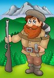 Cartoon trapper with mountains Stock Photo