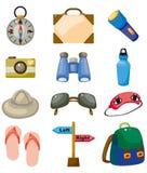 Cartoon travel icons set Stock Photos