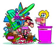 Cartoon traveler with excess baggage Stock Images